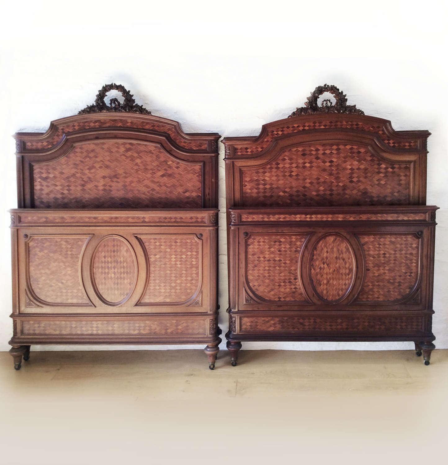 Pair of 19th Century Louis XVI style single Bedsteads