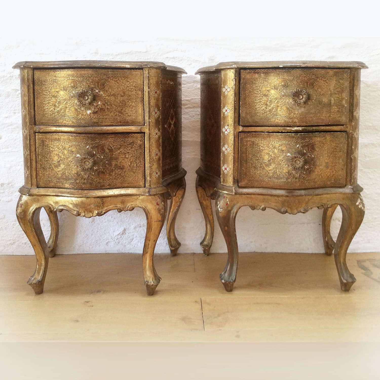 Pair of Gilt Venetian Bedsides