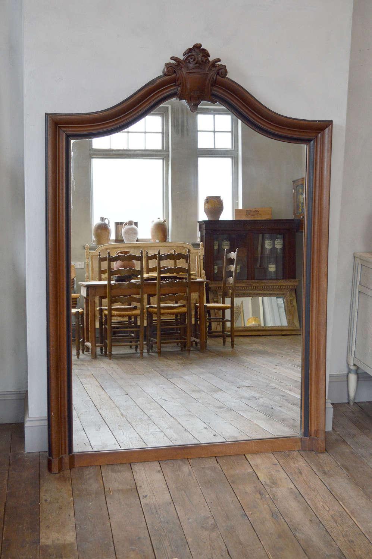 Large Mid 19th Century Walnut Napoleon III Mirror