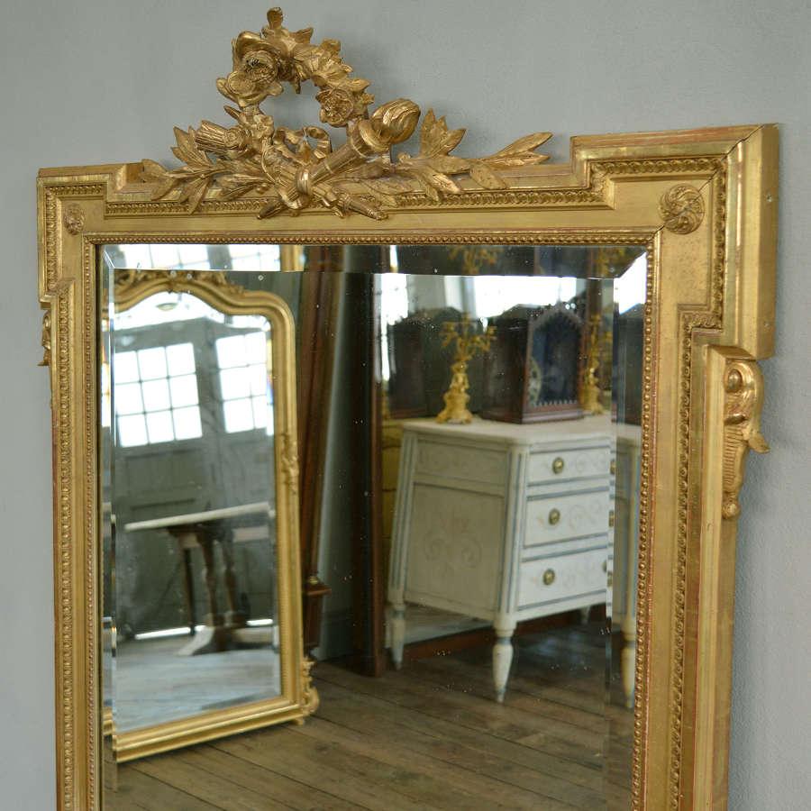 Large Louis XVI style 19th Century Gilt Mirror