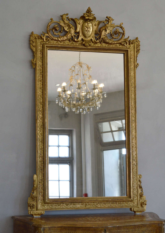 Large 19th Century Renaissance Style Gilt Mirror