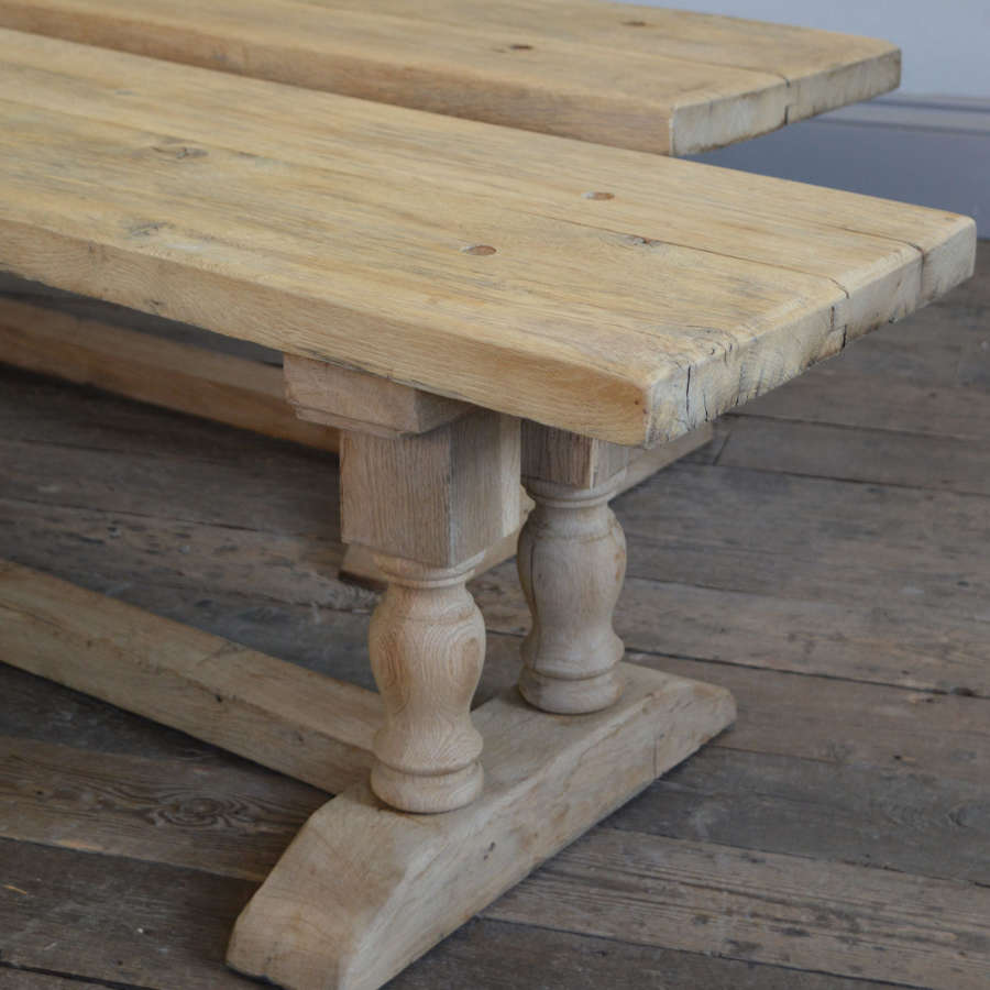 Pair of heavy reclaimed oak monastery benches