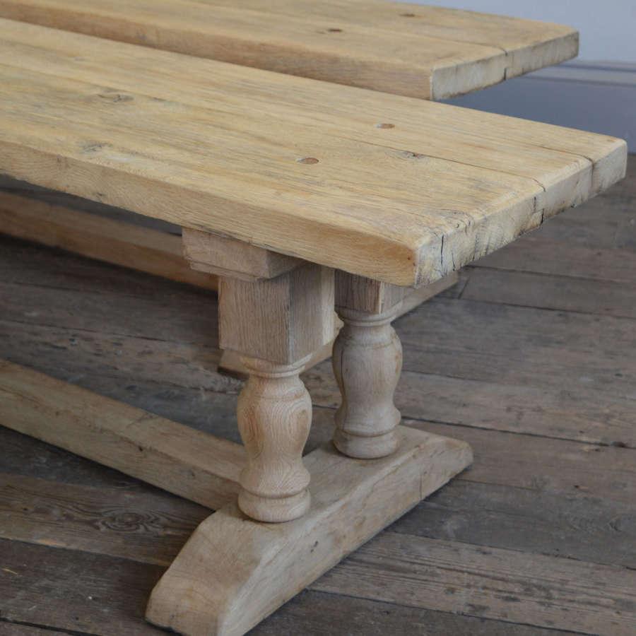Pair of heavy reclaimed oak monastery benches