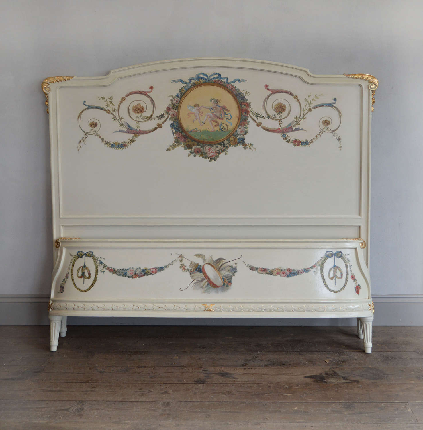 King-size Neoclassical style Hand painted Bedstead