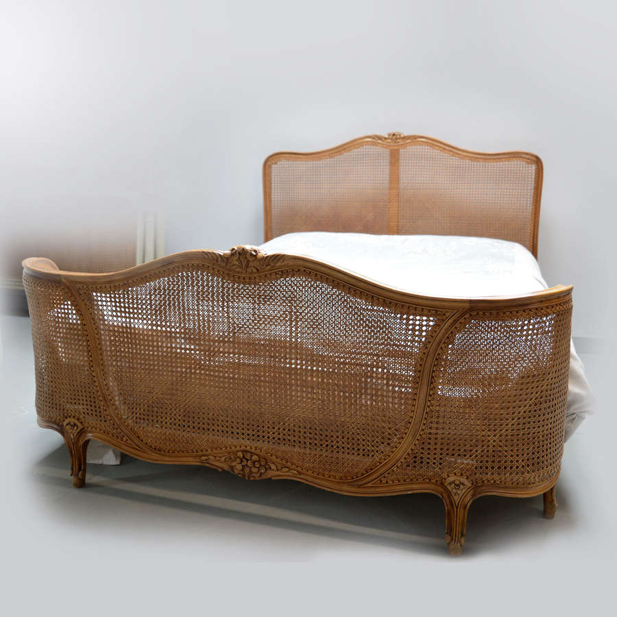 King-size Louis XV style cane bedstead