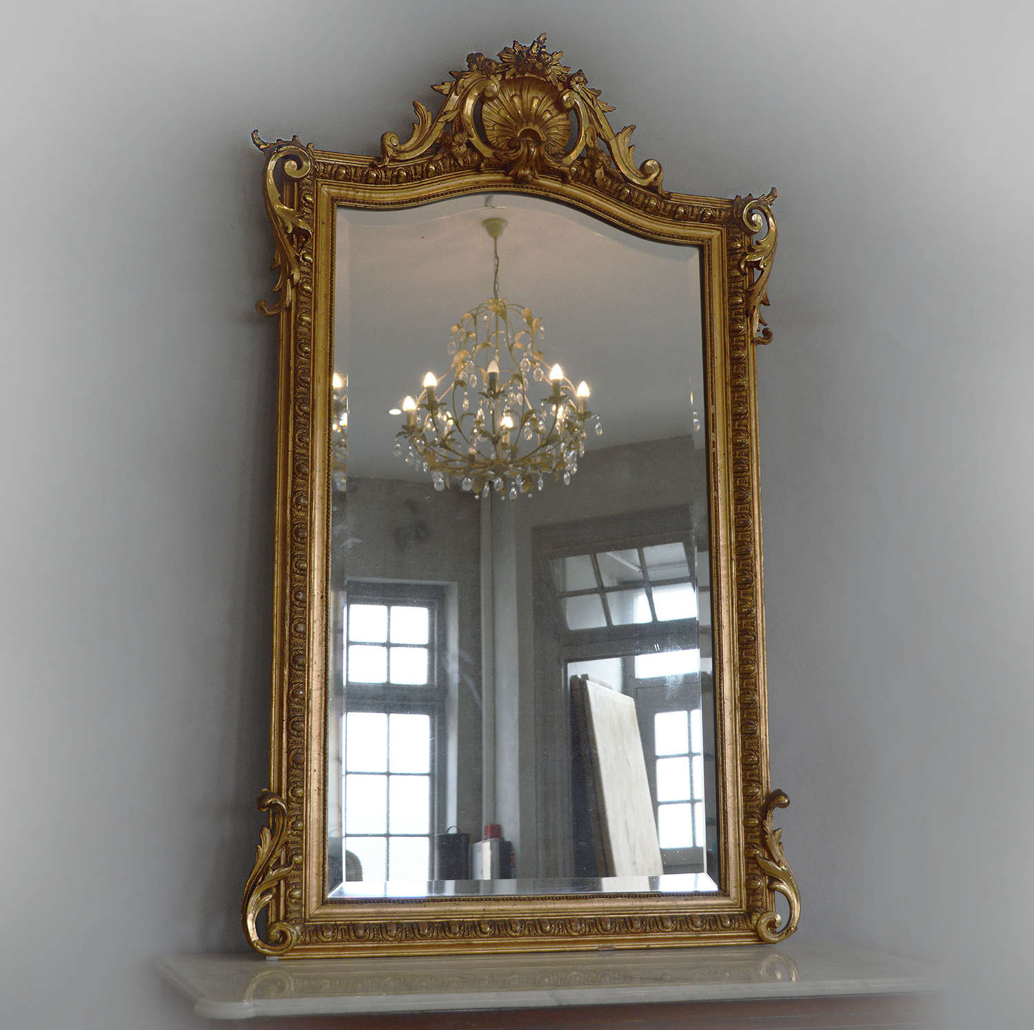 Large Mid 19th Century Napoleon III gilt mirror