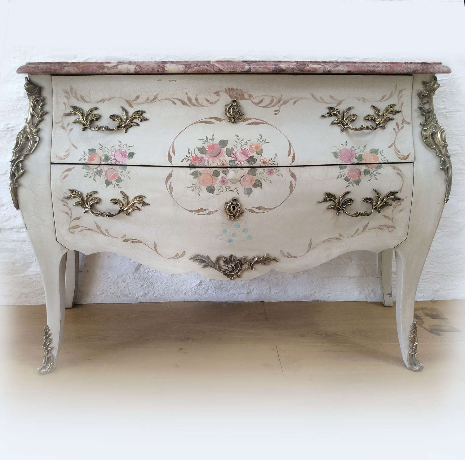 Louis XV style Hand-painted bombe commode