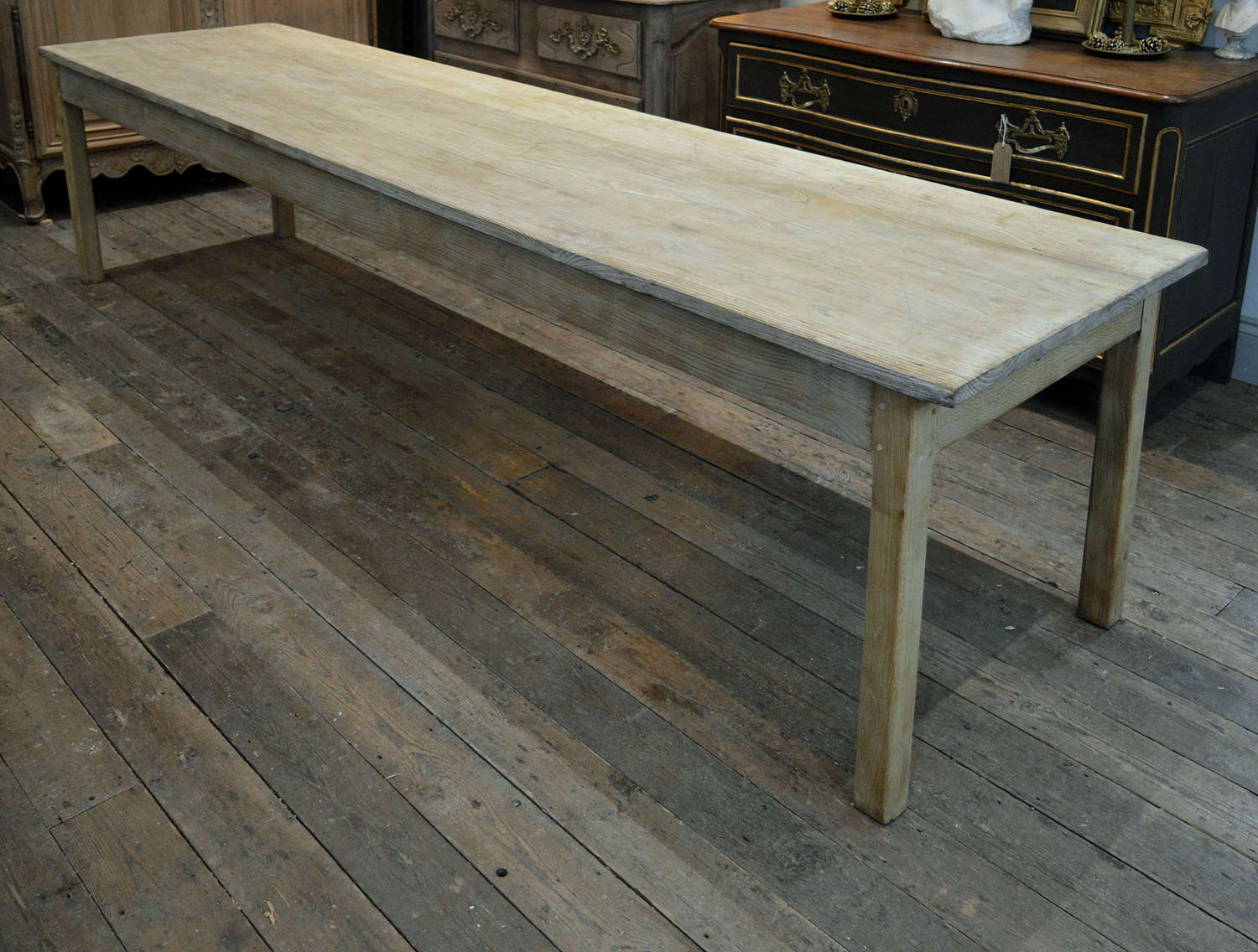 Large 3 meter Bleached Oak and Chestnut Refectory Table