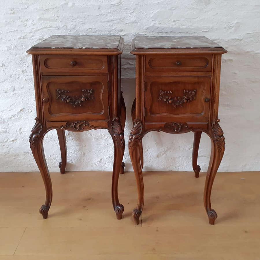 Pair of 19th Century Louis XV style walnut bedside cabinets