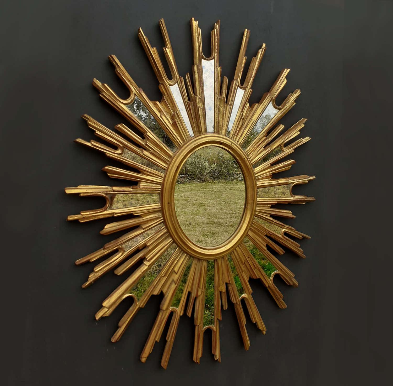 Large Mid Century Belgian Sunburst Mirror
