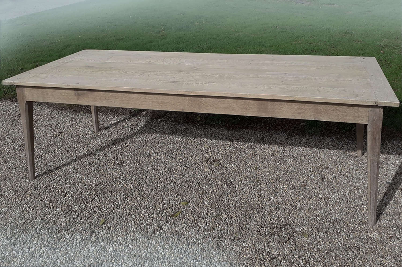 Large 19th Century Bleached Oak Farmhouse Table