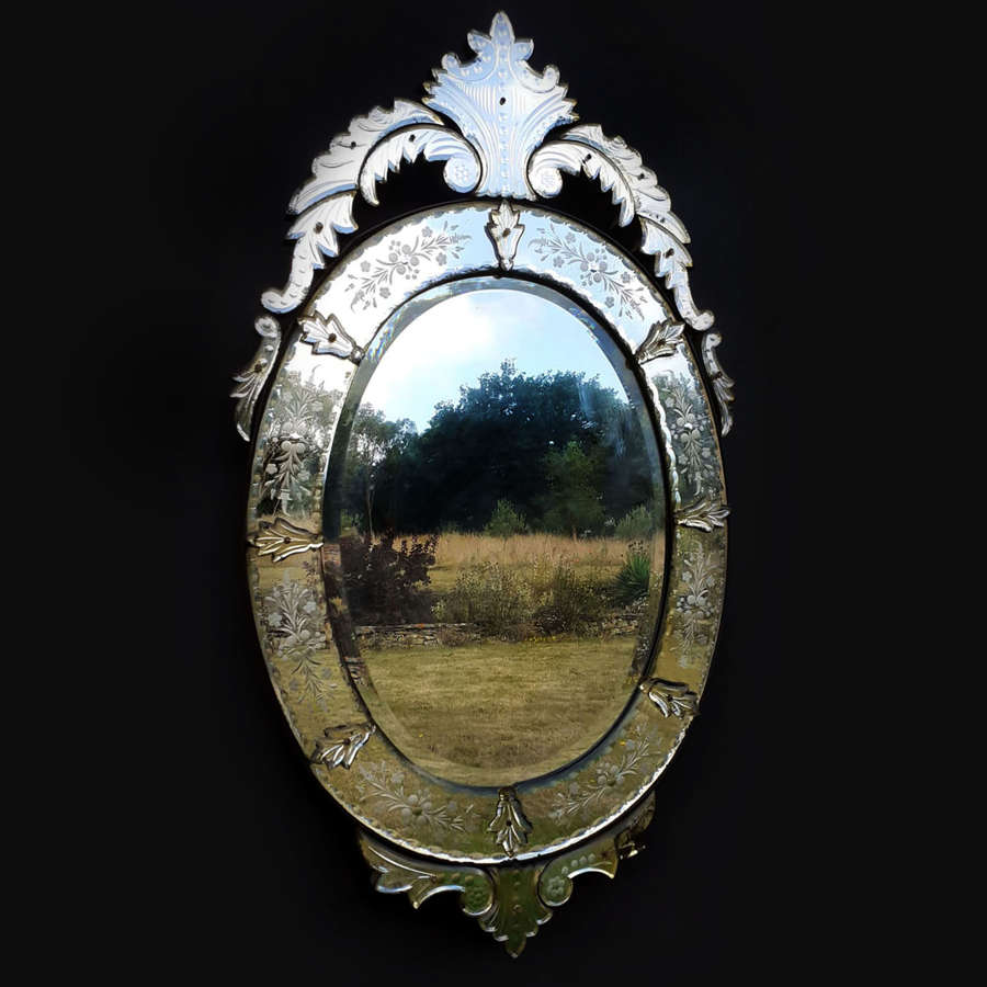 Large Oval early 20th Century Venetian Mirror