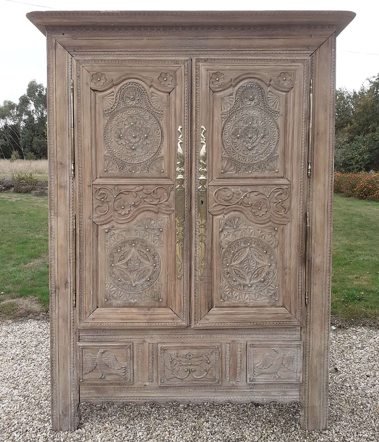 19th Century Quimper Marriage Armoire