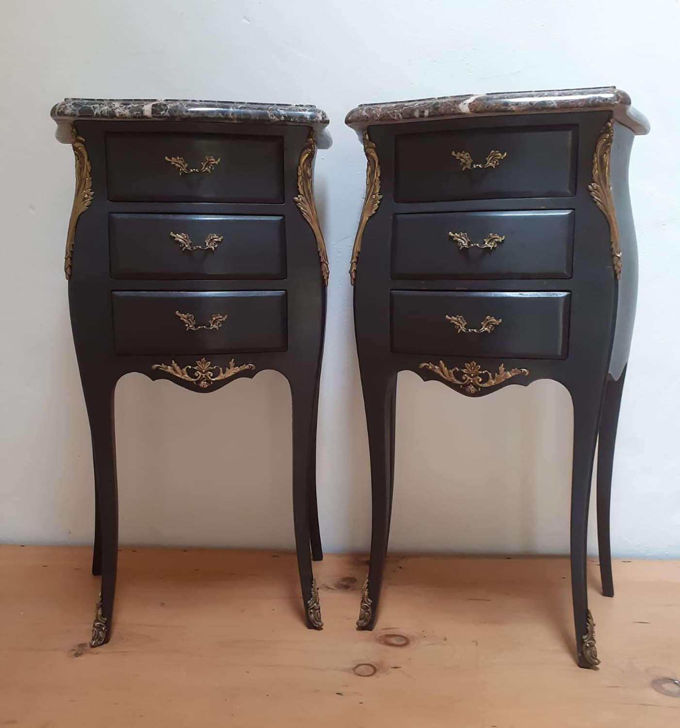Pair of Louis XV style Bedside Cabinets