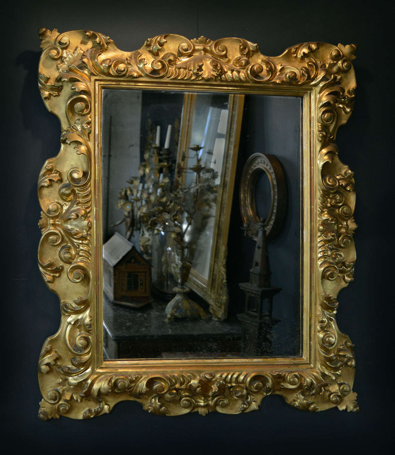 19th Century Italian Florentine Gilt-wood Mirror