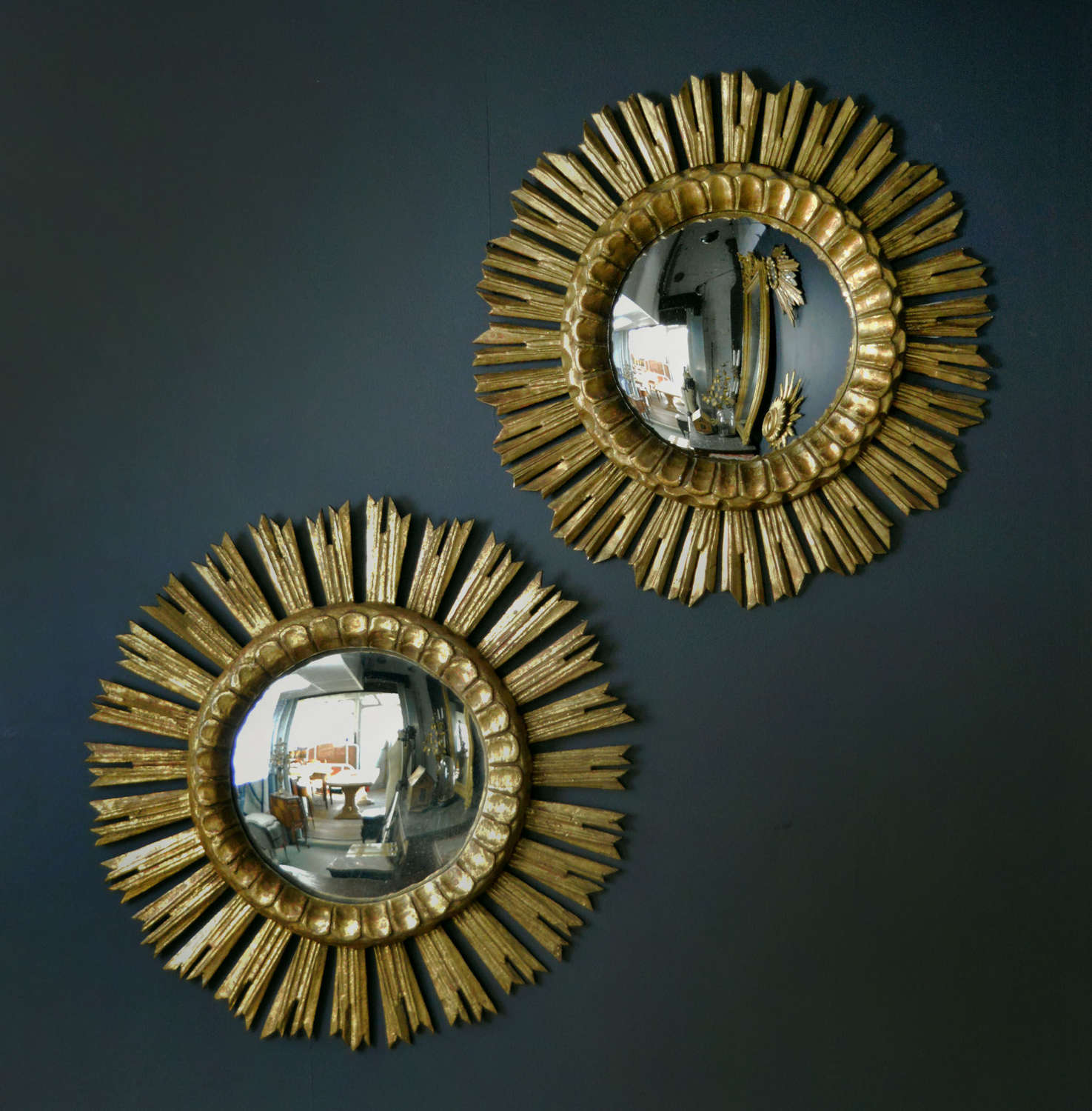 Pair of Gilt-wood Convex Sunburst Mirrros