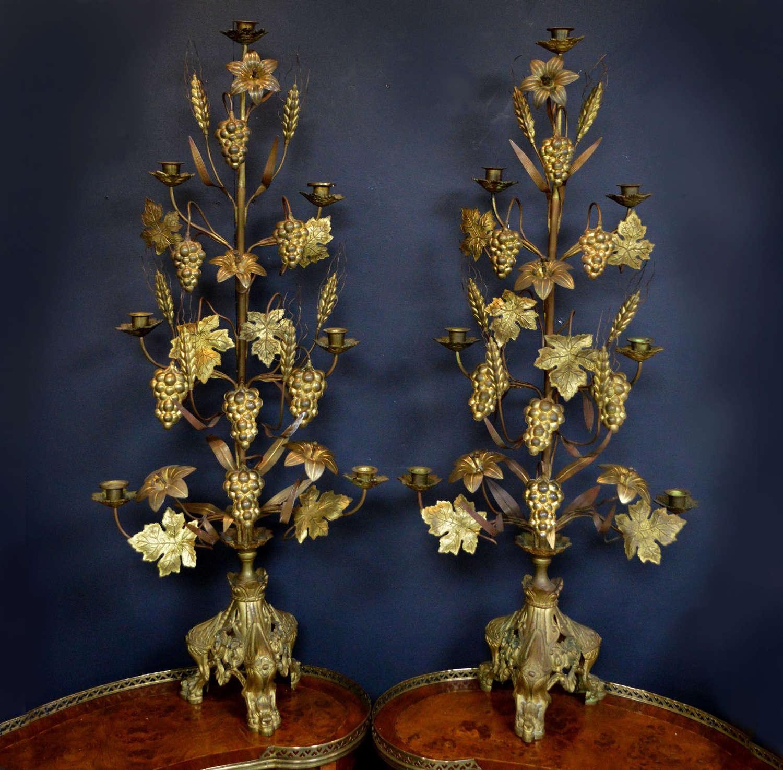 Tall 19thC Ecclesiastical Gilt Bronze 7 arm Candlesticks