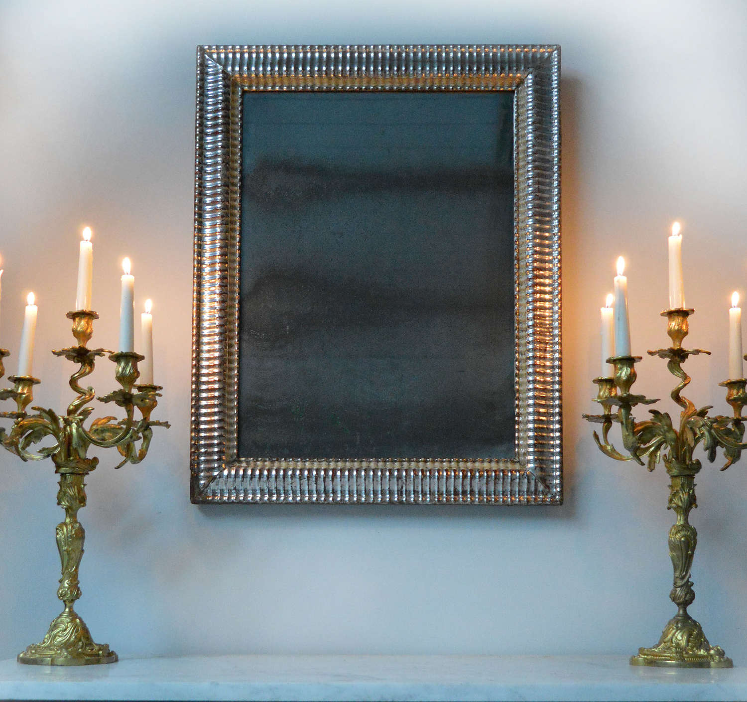 Rare c1830-40 Louis Philippe Silver gilt ripple frame mirror