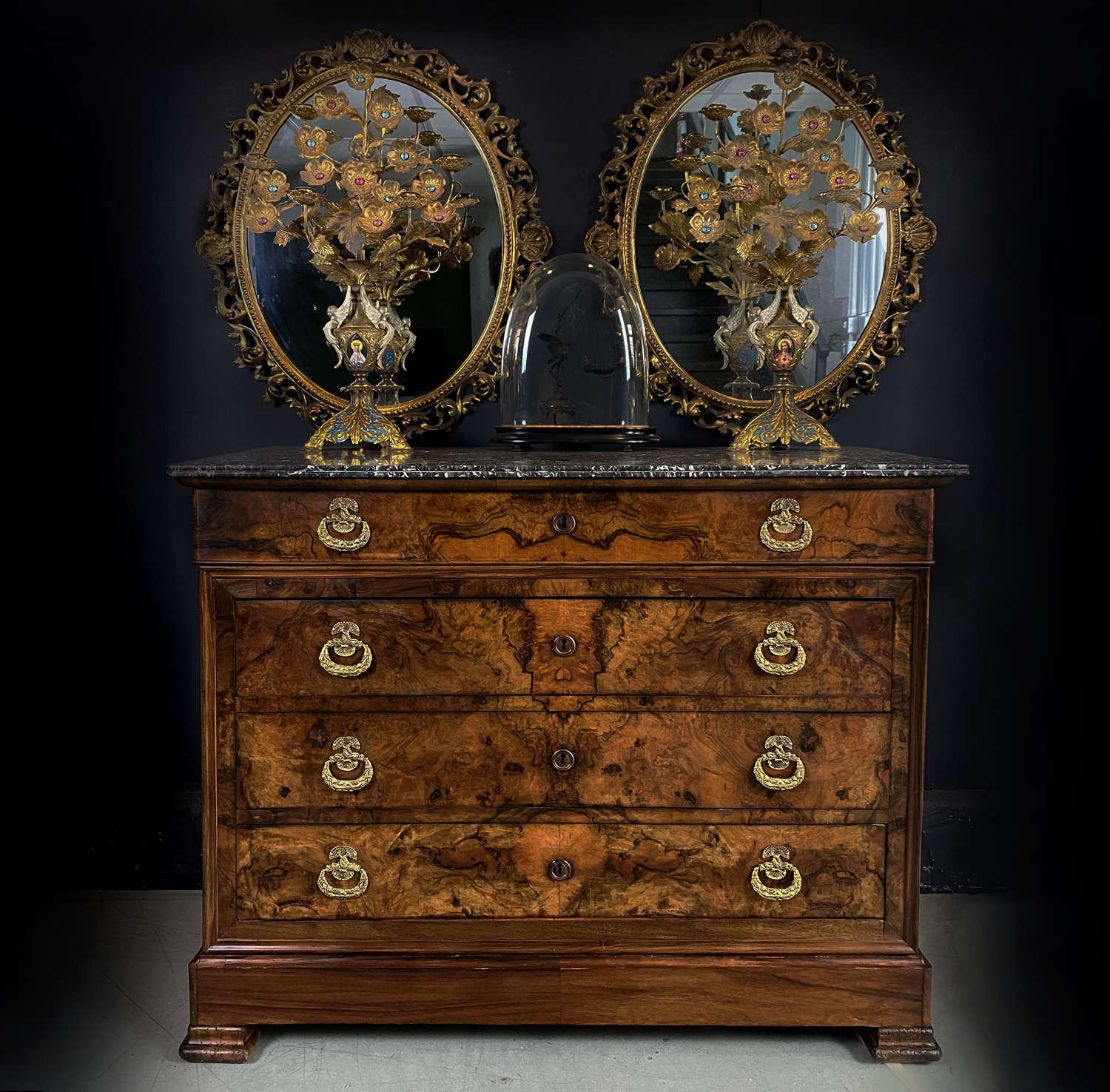 19th Century Burr Walnut Charles X Commode