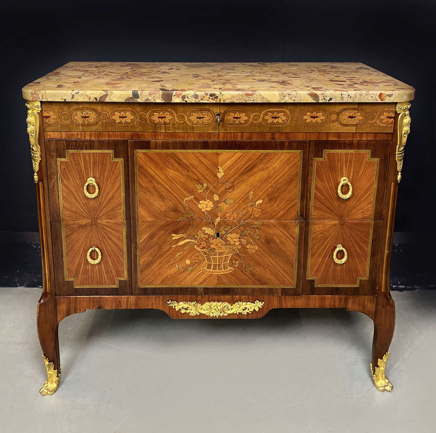Mid 19th Century Transitional style inlaid commode