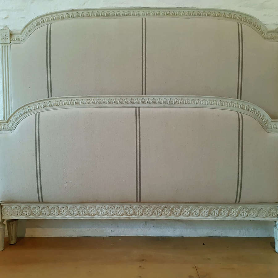 King size Louis XVI style upholstered bedstead