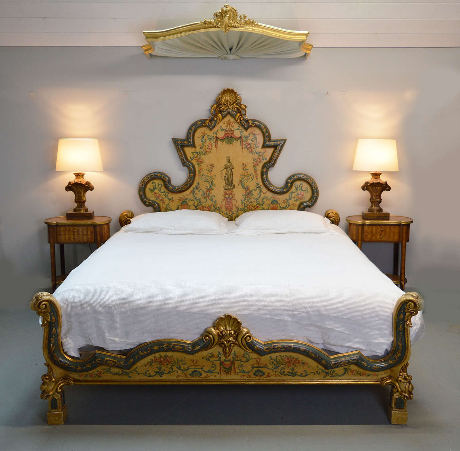 Handpainted Super-king Venetian Bedstead