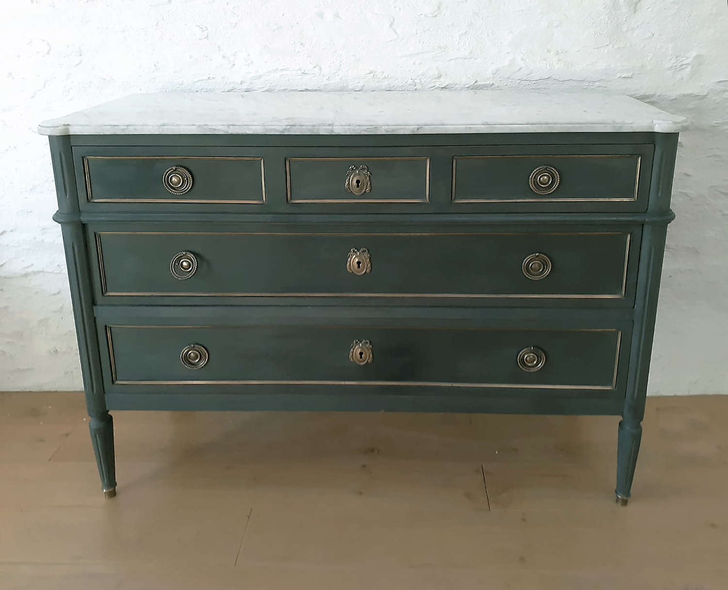 Louis XVI style painted & marble top Commode