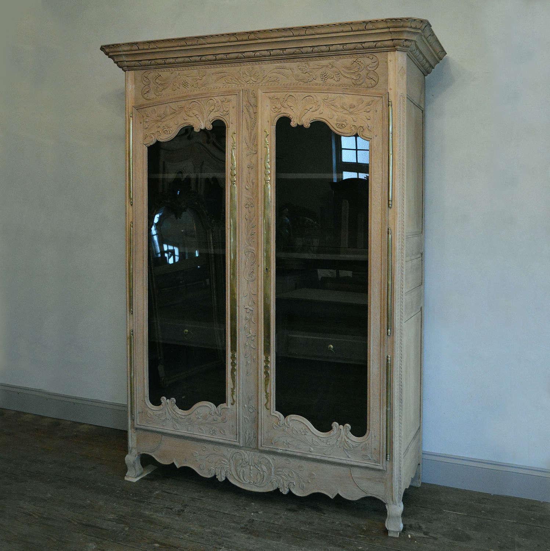 19th Century Glazed Norman Oak Armoire