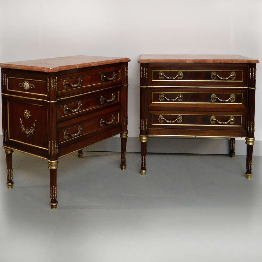 Pair of Louis XVI style bedside Commodes