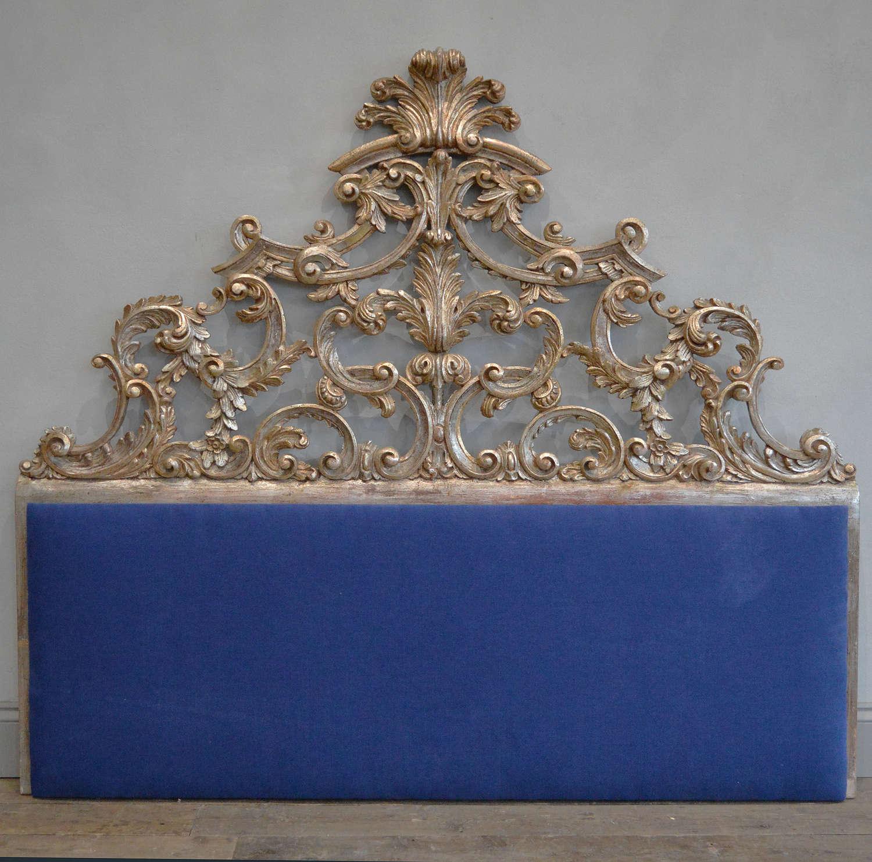 Italian silver gilt-wood rococo upholstered headboard