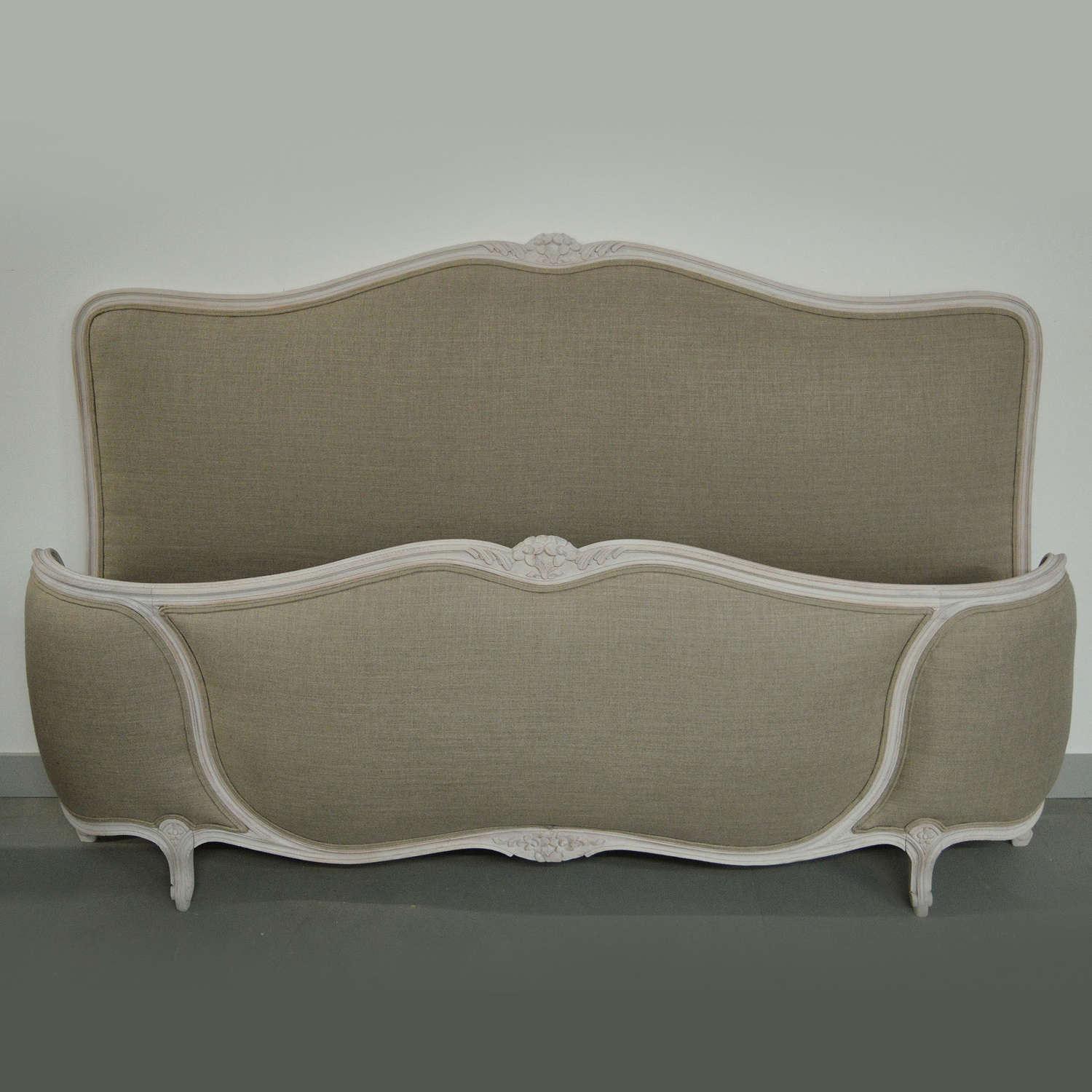 Super-king Louis XV style upholstered bedstead