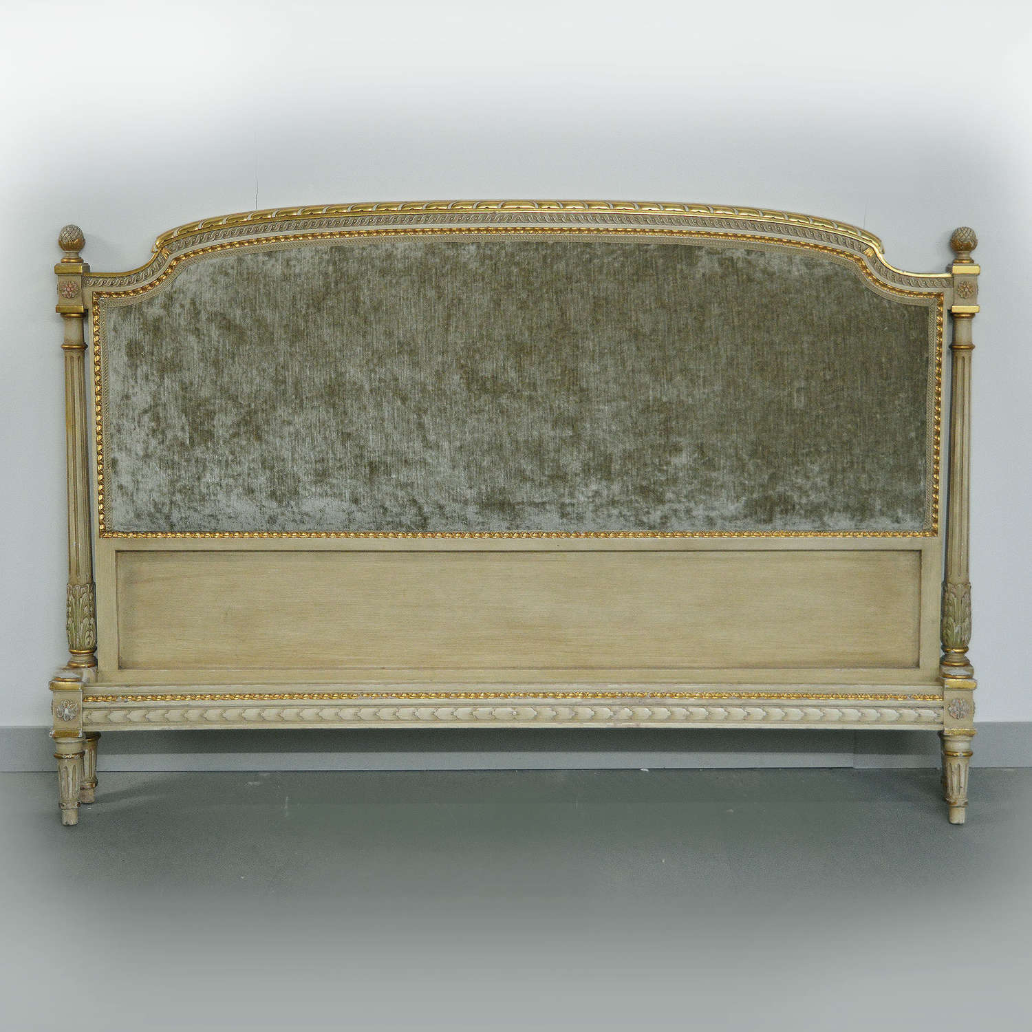 Super-king size Louis XVI style upholstered bedstead