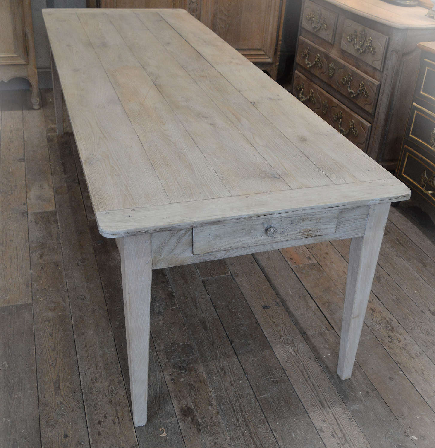 Large 19th Century Bleached Chestnut Farmhouse Table