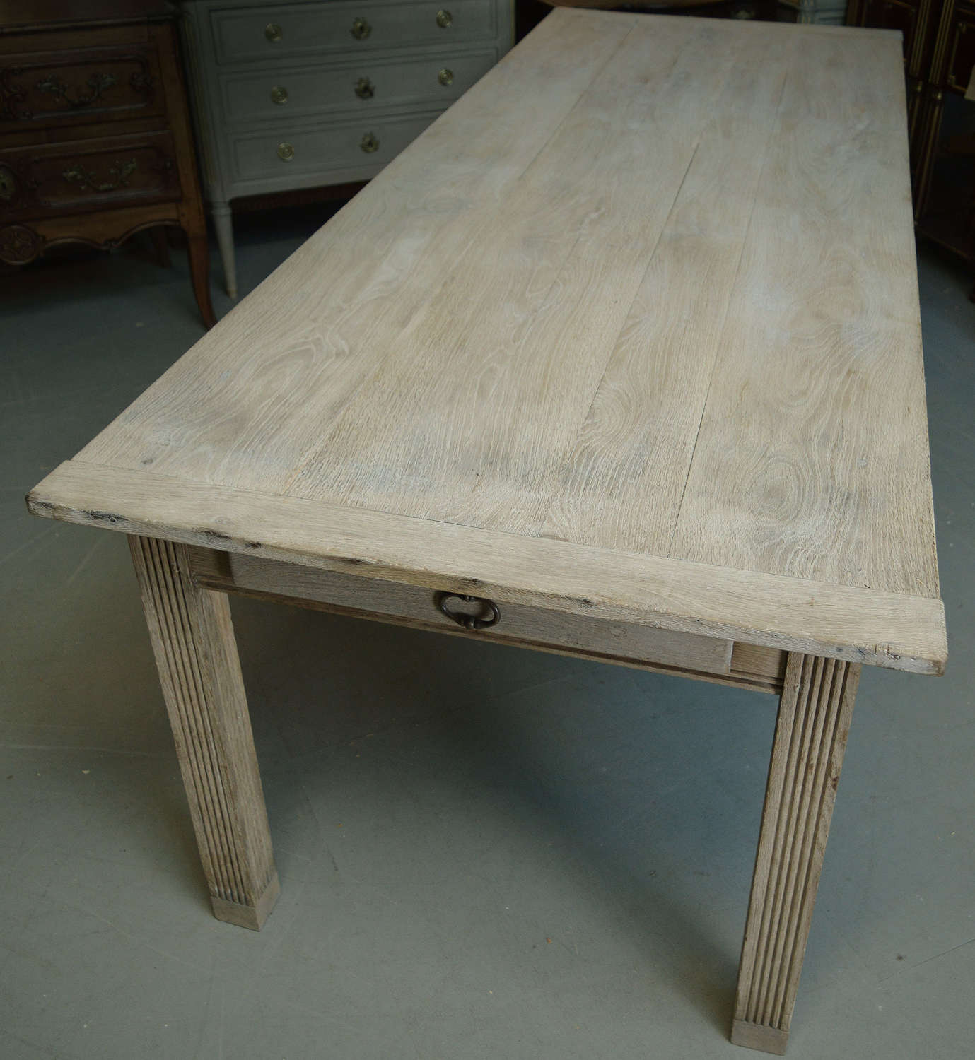 Late 19thC large Oak French kitchen scrubbed prep table