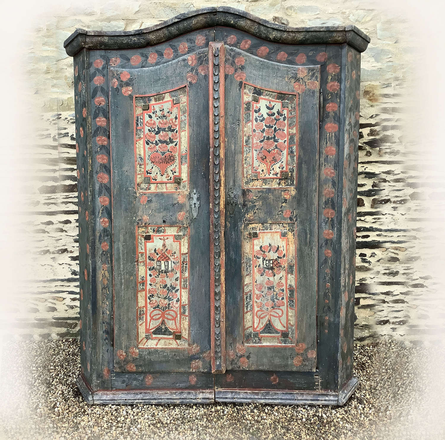 Early 19th Century Danish Folk painted armoire