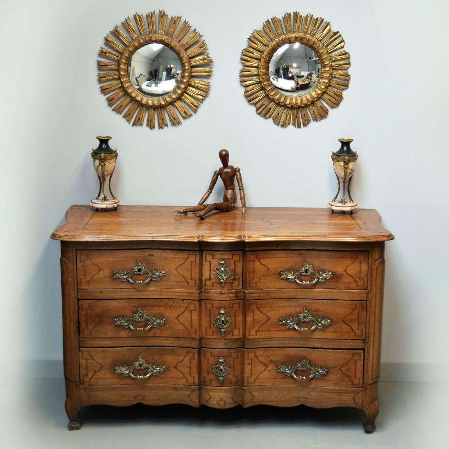 Mid 18th Century Louis XV Inlaid Oak Commode