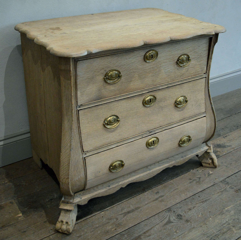 Small late 18th Century Oak Dutch Bombe commode