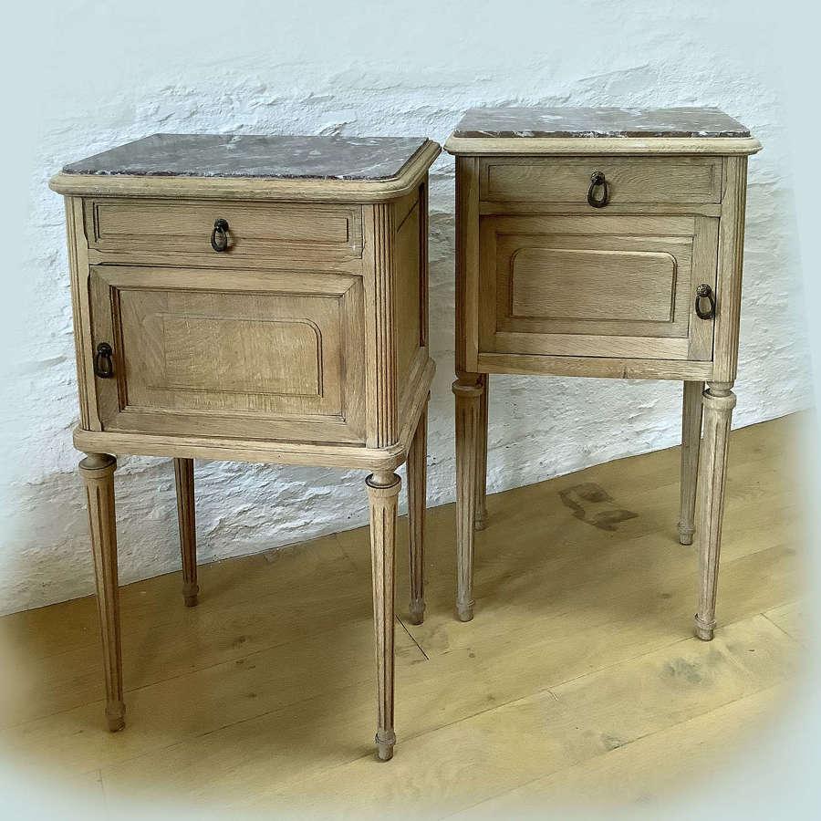 Pair of Bleached Oak Louis XVI style Bedsides