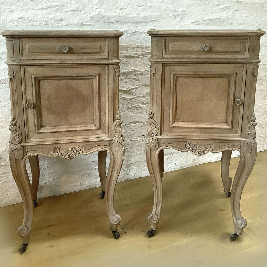 Pair of 19th Century bleached walnut bedside cabinets