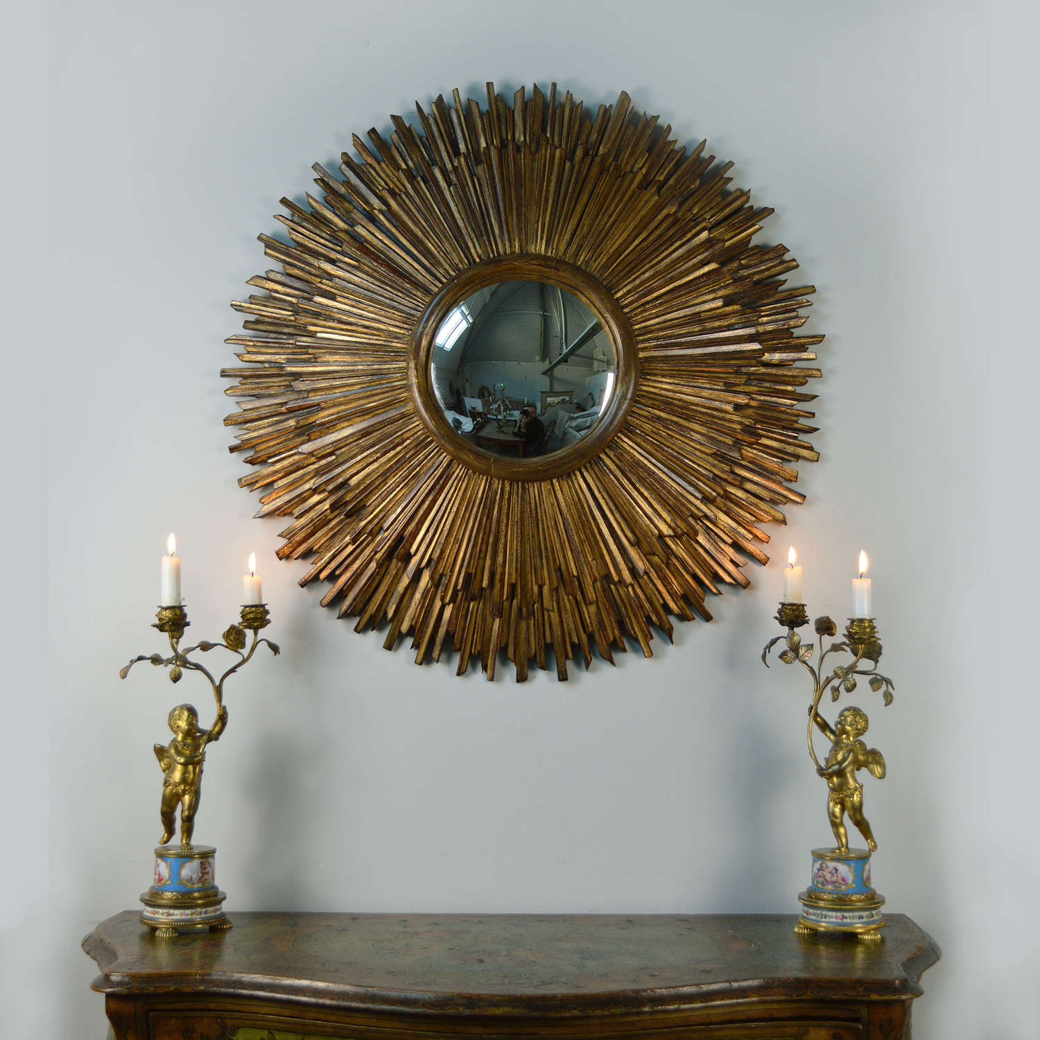 1930s Art deco sunburst gilt wood mirror