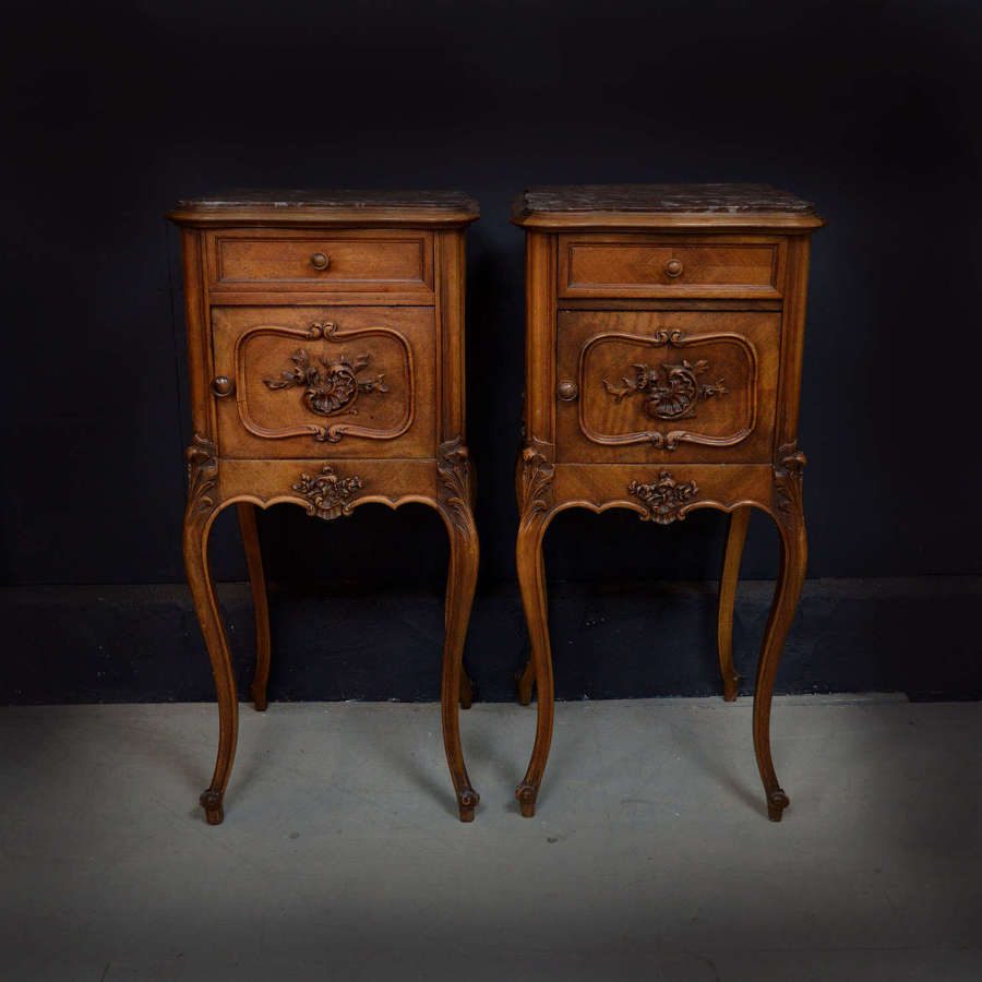 Pair of 19th Century Louis XV style Walnut Bedsides