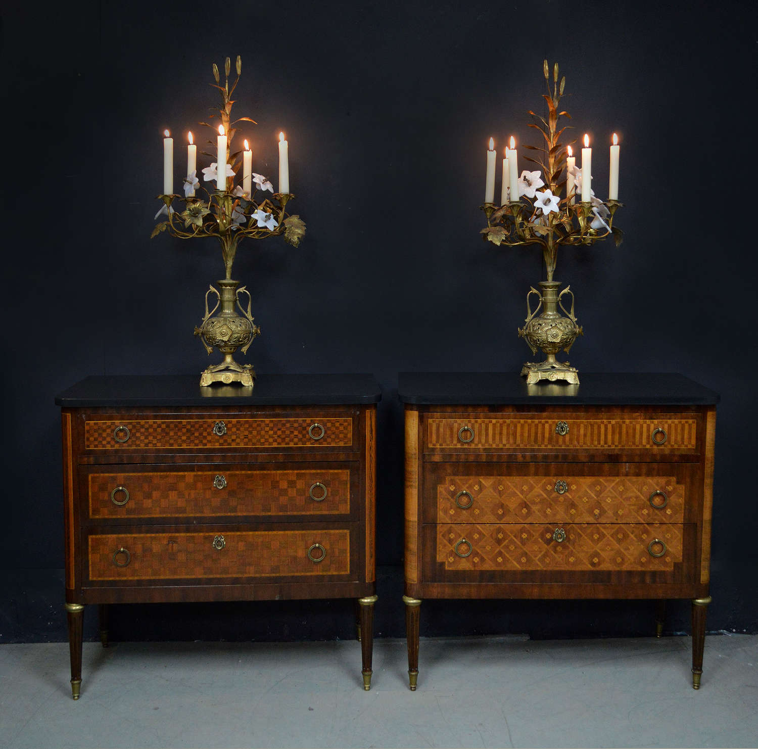 Pair of Louis XVI style inlaid commodes