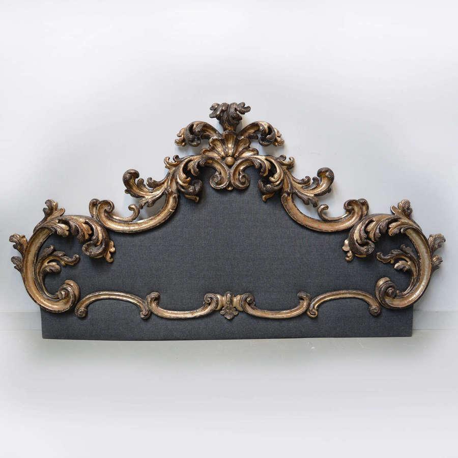 Large Italian baroque style giltwood headboard