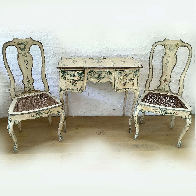 19th Century Venetian Dressing table & chairs set