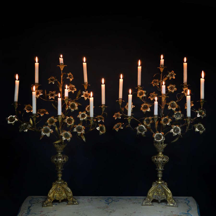 Pair of 19th Century gilt bronze candelabra
