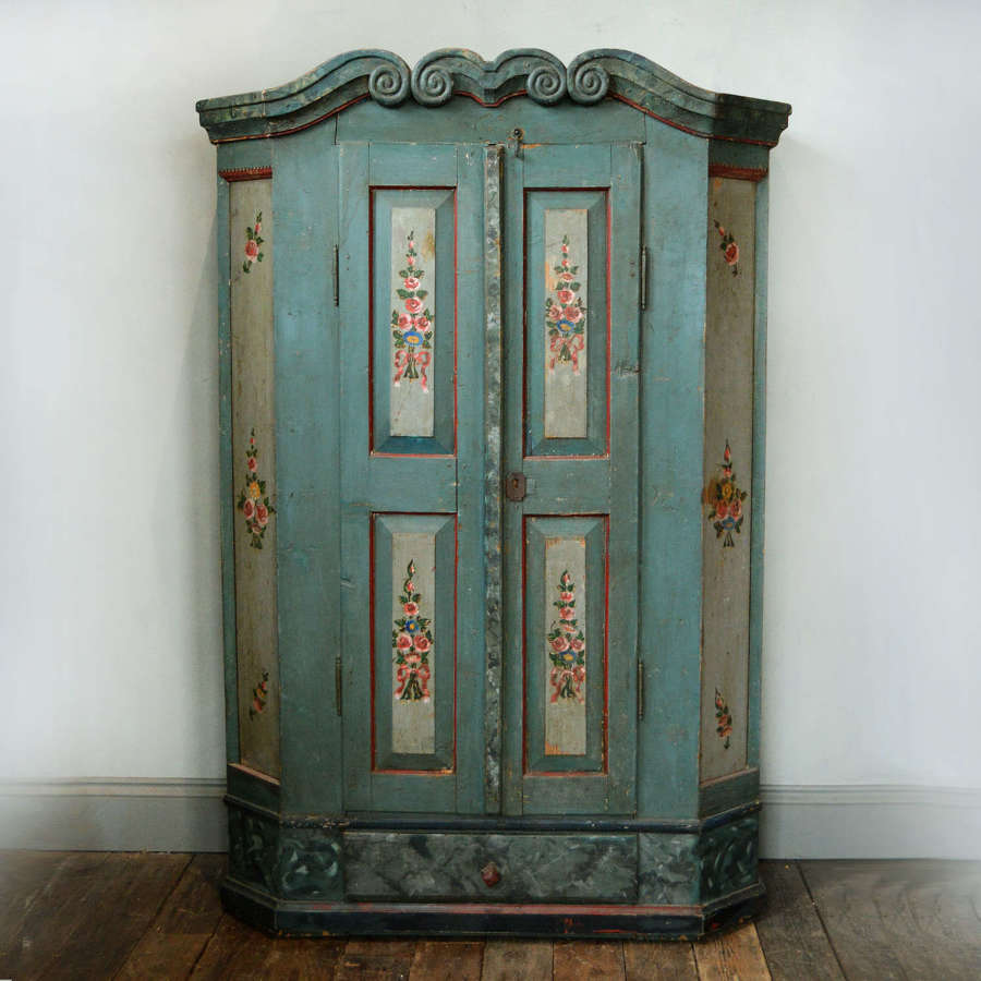 19th Century Tyrolean Painted Marriage armoire