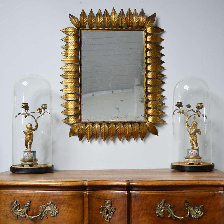 Mid Century Spanish Gilt metal leaf mirror frame