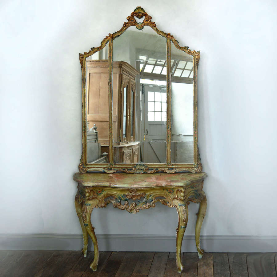Large 19th Century Venetian painted Console & mirror