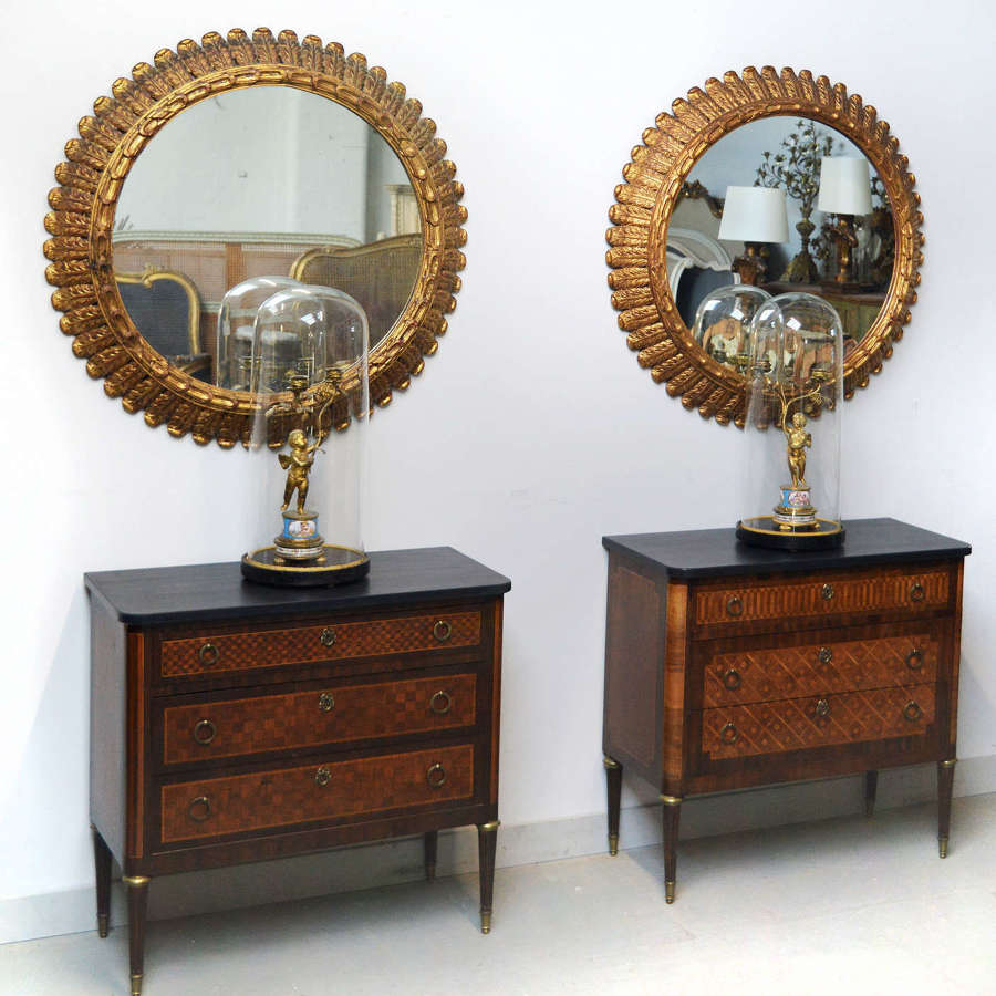 Pair of Mid Century Gilt Wood Mirrors
