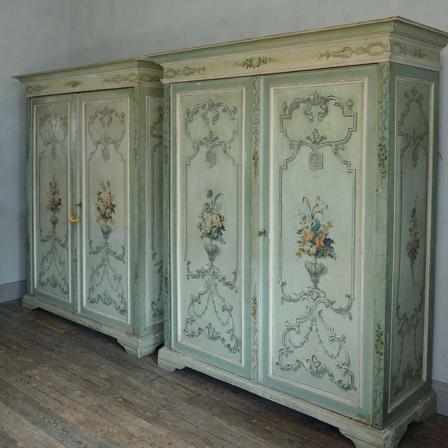 Rare Large pair of Italian hand painted 19thC Armoires